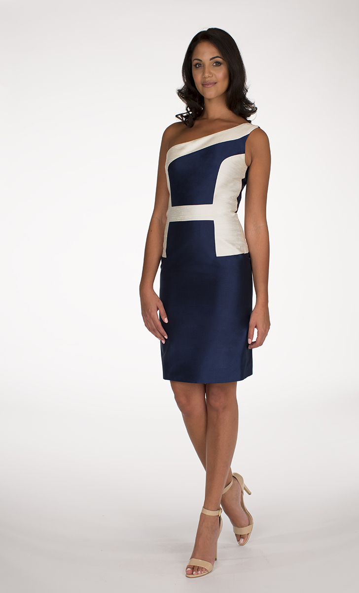 Navy Blue and Ivory Hani dress