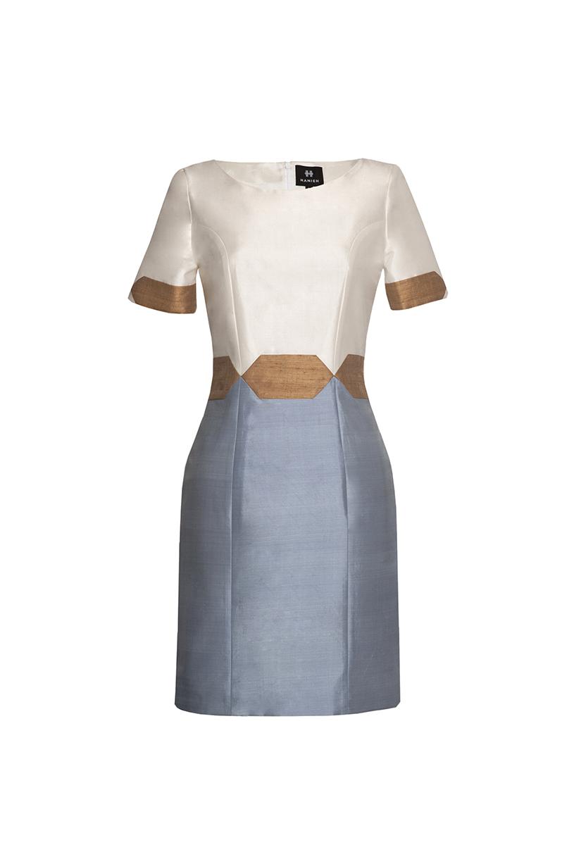 Ivory & Light blue Nava Dress