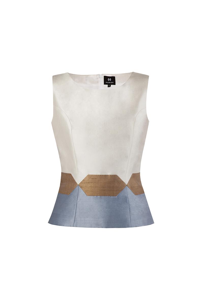 Ivory & light blue Nava Top
