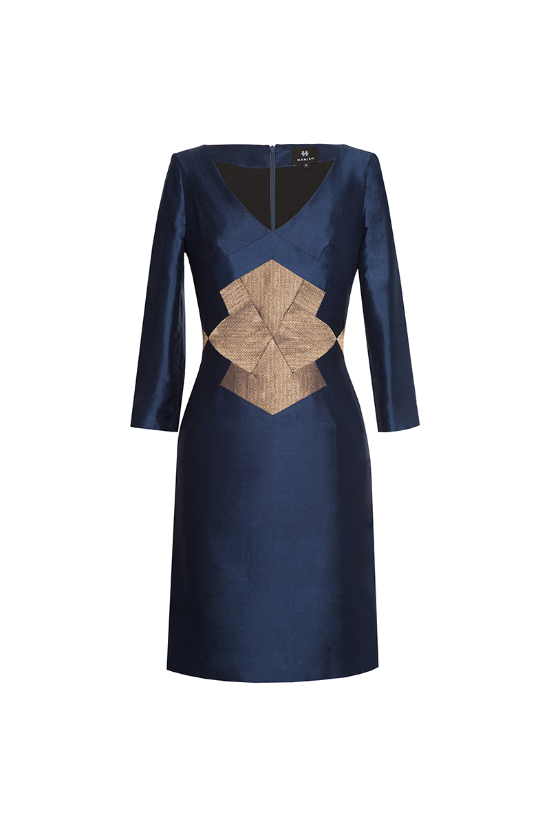 Navy 3/4 sleeve Farah Dress