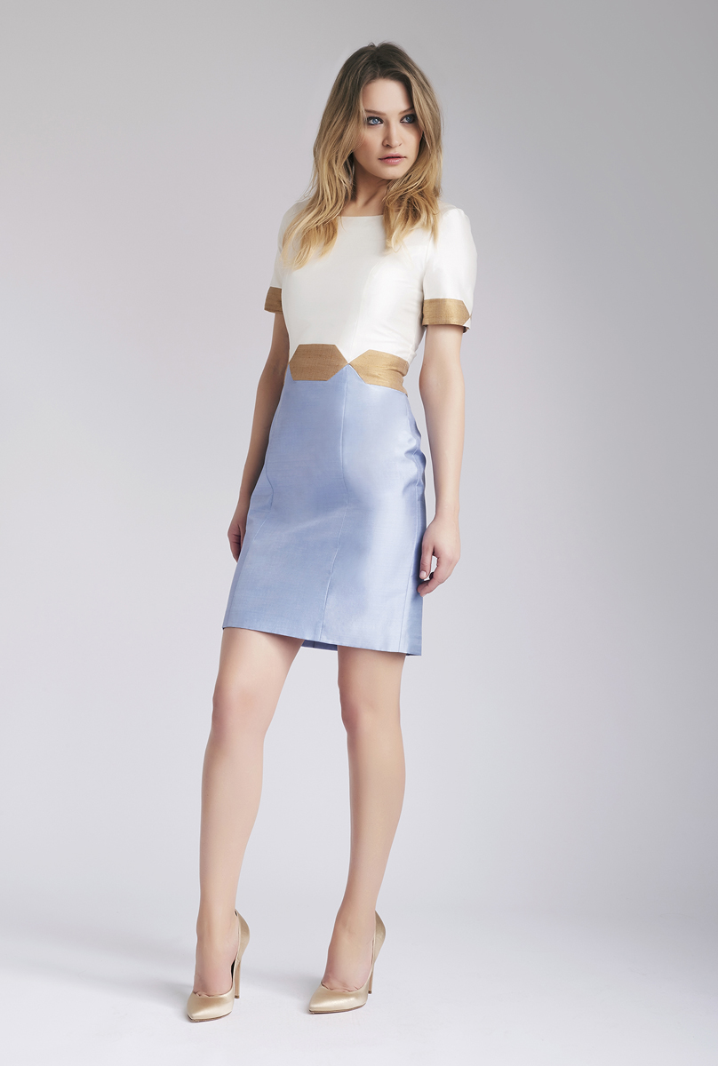 Ivory & Light blue Nava Dress