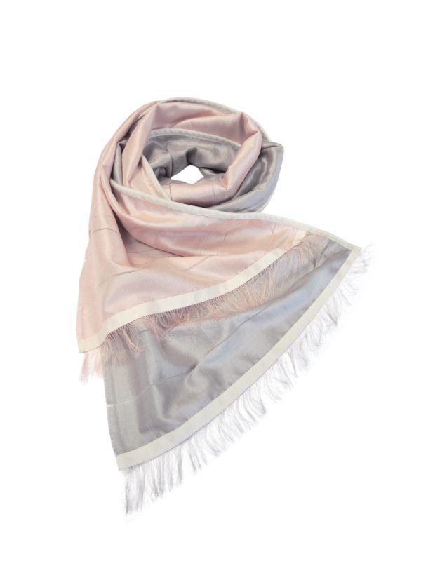 Pink & Silver Silk shawl