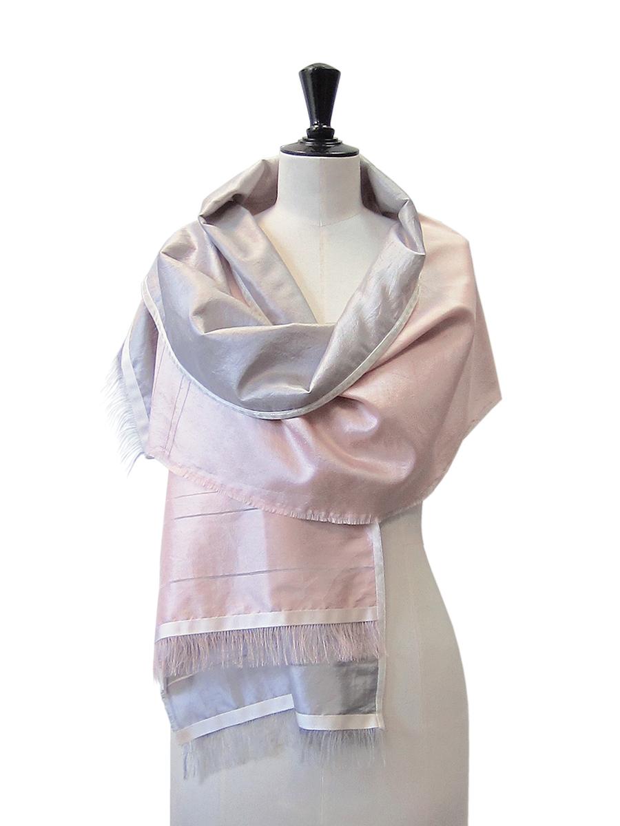 Blush Pink & Silver Silk Scarf